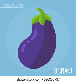 Eggplant.  Long shadow flat design vector icon.