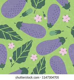 Eggplant seamless pattern. Ripe eggplant with leaves and flowers on shabby background. Original simple flat illustration. Shabby style.