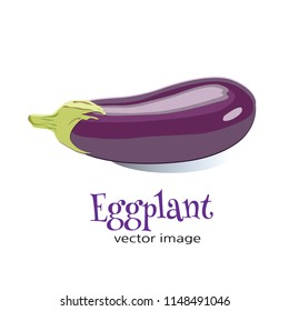 "Eggplant vector image Image if a eggplant with the word ""Eggplant"" isolated in white."
