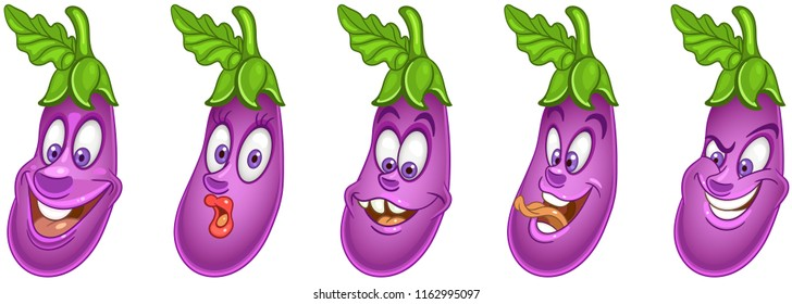 Eggplant. Vegetable Food concept. Emoji Emoticon collection. Cartoon characters for kids coloring book, colouring pages, t-shirt print, icon, logo, label, patch, sticker.