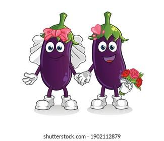 eggplant wedding cartoon. cartoon mascot vector