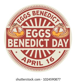 Eggs Benedict Day, April 16, rubber stamp, vector Illustration
