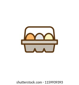 Eggs In Box Package filled outline icon, line vector sign, linear colorful pictogram isolated on white. Egg container symbol, logo illustration. Pixel perfect vector graphics