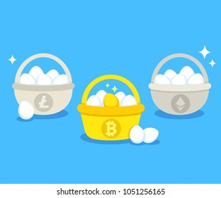 Eggs in different baskets with main cryptocurrency symbols: Bitcoin, Litecoin, Ethereum. Crypto investment portfolio diversification concept. Modern flat vector style illustration.