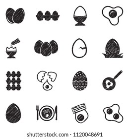 Eggs Icons. Black Scribble Design. Vector Illustration.