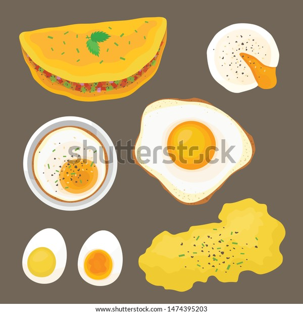 Eggs Illustration Vector Set Flat Style Stock Vector