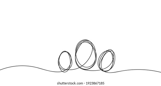 Eggs line art, Continuous one line drawing of three eggs different size, Black and white graphics, Vector illustration design element for Easter holidays