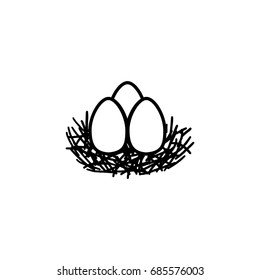 Eggs in the nest, vector icon