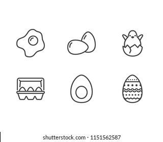 Eggs, organic food flat line icons. Breakfast fried egg, hatched chicken in eggshell vector illustration, easter sign.
