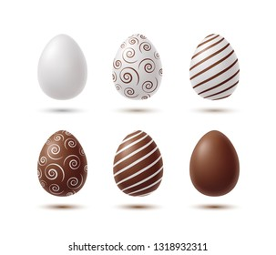 Eggs with shadow isolated on white background. Vector product icon. Chicken white and chocolate eggs template for Easter design.