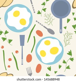 Eggs and vegetables are the best for breakfast. Vector seamless background