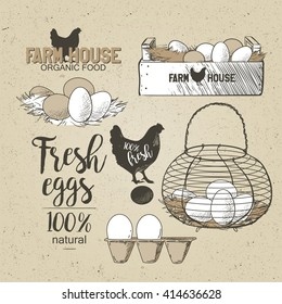 Eggs in the vintage antique-french-country-wire-egg-gathering-basket