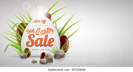Egg-shaped Easter big sale banner background template with lettering, green grass, stones and chocolate eggs. Vector illustration for your ad design and advertising needs.