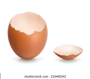 Eggshell. Crack egg. 3d vector icon