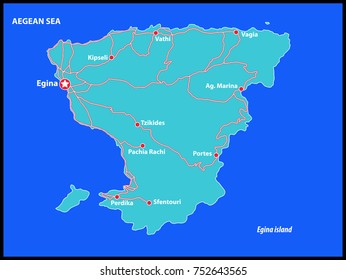 Egina Island Vector Map Greece. This is a very detailed map of Egina Island in Greece Aegean sea. It has a layer with roads and major cities.
