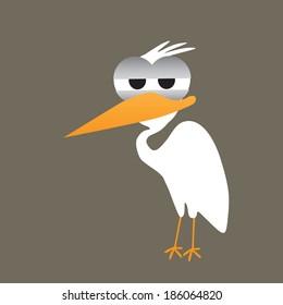Egret / stalk cartoon vector