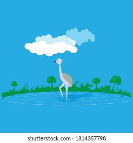 Egret,active in a calm lagoon,blue background,in vector style.