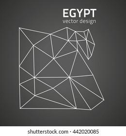 Egypt black contour vector map