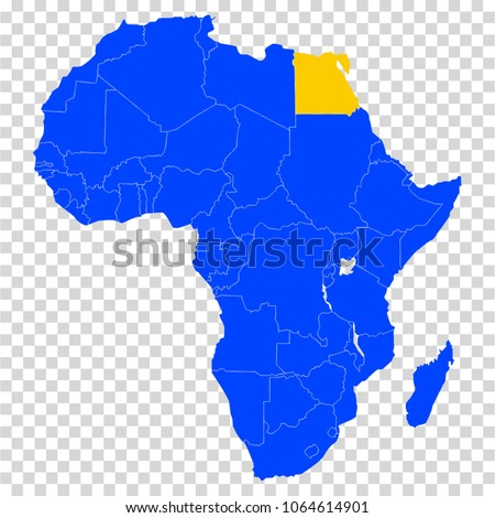 Accurate Map Of Africa.Egypt Blue Accurate Map African Continent Stock Vector Royalty Free