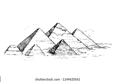 Egypt. Cairo - Giza. General view of pyramids from the Giza Plateau (three pyramids known as Queens' Pyramids on front side; next in order from left: the Pyramid of Menkaure, Khafre and Chufu.Sketch