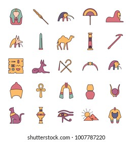 Egypt cartoon Icons set. Vector illustration with Egypt object with pharaon, mummy and camel. Egypt culture and traditions. Historic objects.