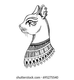 egypt cat sketch