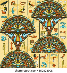 Egypt colorful ornament with ancient Egyptian hieroglyphs on aged paper background,. Vector seamless pattern. Hand drawn illustration