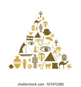 egypt country theme symbols icons set pyramid shape eps10