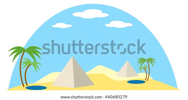 egypt desert scene  at day with clouds, pyramids, oasis pond and palm tree vector illustration, in flat design style