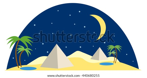 egypt desert scene  at night with moon, stars, pyramids, oasis pond and palm tree vector illustration, in flat design style