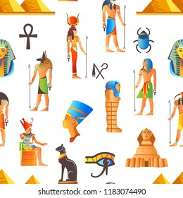 Egypt and Egyptian mythological signs seamless pattern vector
