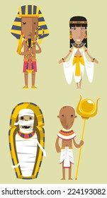 Egypt Egyptian People Pharaoh Clothes vector illustration.