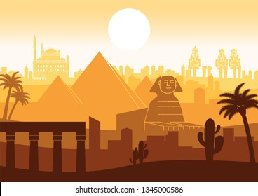 Egypt famous landmark silhouette style with row design on sunset time,orange and brown color,vector illustration