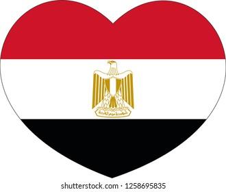 Egypt flag, Heart vector, sticker, eps10