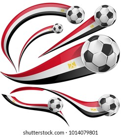 egypt flag set with soccer ball isolated on white