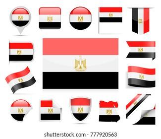 Egypt Flag Set - Vector Illustration