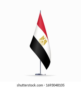 Egypt flag state symbol isolated on background national banner. Greeting card National Independence Day of the Arab Republic of Egypt. Illustration banner with realistic state flag.