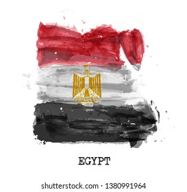 Egypt flag watercolor painting design . Country map shape . Sport team and national day concept ( 23 July 1952 ) . Vector .