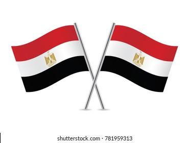 Egypt flags. Vector illustration.