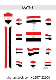Egypt Flat Flag Collection. Flat flags vector illustration.