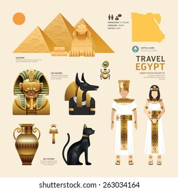 Egypt Flat Icons Design Travel Concept.Vector
