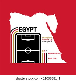 Egypt at football world cups as of 2018 – customizable infographics with the number of medals, appearances and the year of the last title