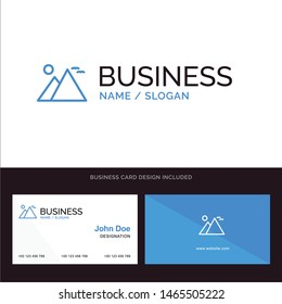 Egypt, Giza, Landmark, Pyramid, Sun Blue Business logo and Business Card Template. Front and Back Design. Vector Icon Template background