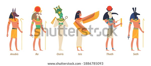 Egypt gods. Ancient authentic characters fairytale history sculptures pharaon jackal anubis birds osiris isis exact vector gods
