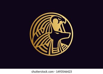 Egypt Gods Ra and Anubis Logo Design