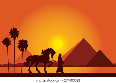 Egypt Great Pyramids with silhouette of Bedouin and horse on sunset background vector illustration