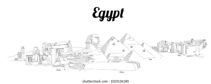 EGYPT hand drawing panoramic sketch illustration