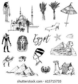 Egypt. Hand drawn vector set