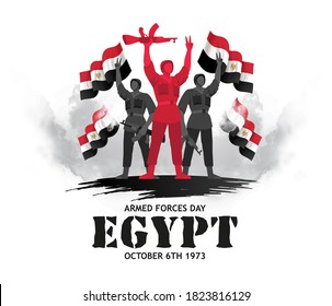 Egypt holiday Memorial Day Egypt. 6 October 1973 Armed forces day. translation from arabic: Armed forces day Egypt Day ,vector illustration