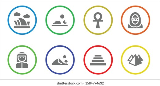 egypt icon set. 8 filled egypt icons.  Simple modern icons about  - Opera house, Bedouin, Desert, Dune, Ankh, Pyramid